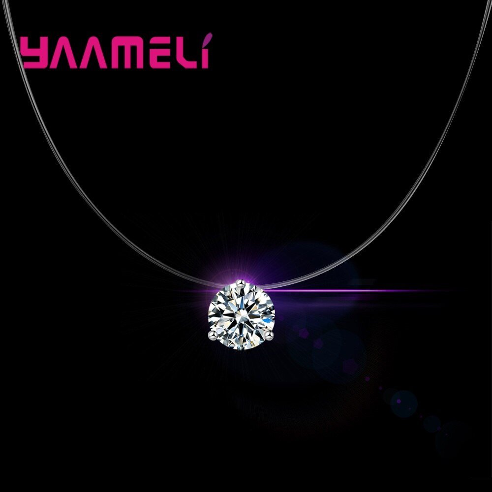 Elegant Simple Crystal Necklace For Women 3 Claw 8 Color AAA Cubic Zirconia Stone Top Quality Wedding Engagement Present