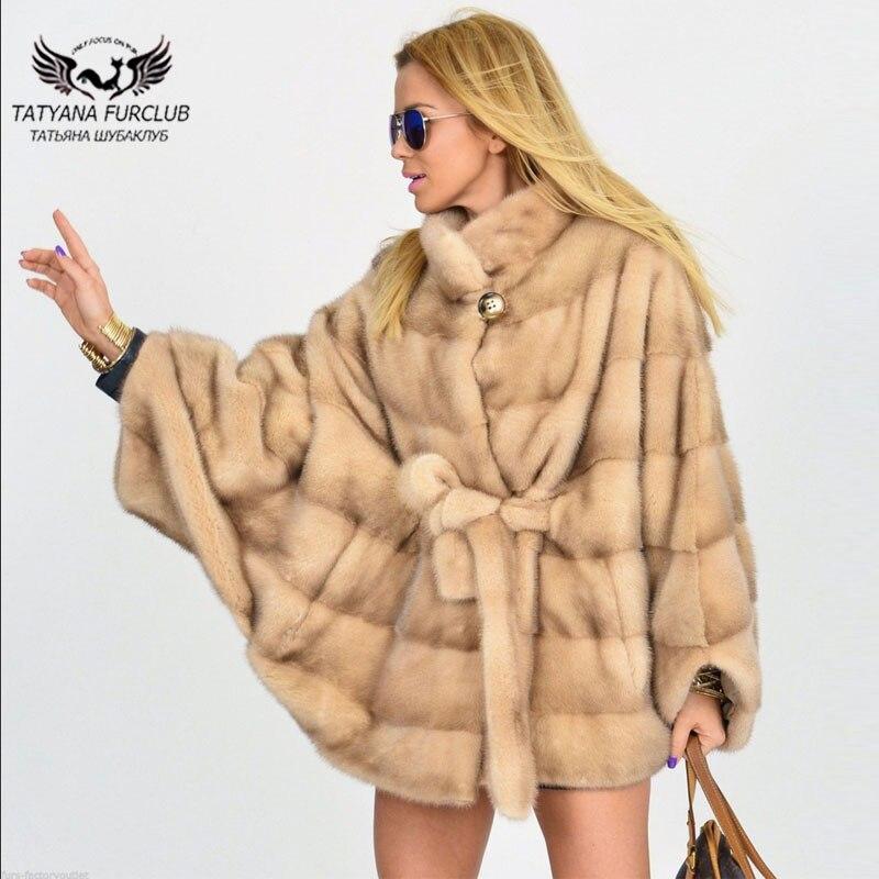 Tatyana Furclub المنك معطف الفرو الطبيعي الحقيقي المنك الفراء معطف المرأة 70 سنتيمتر عالية الشارع جميلة الفراء جاكيتات مع حامل طوق فتاة