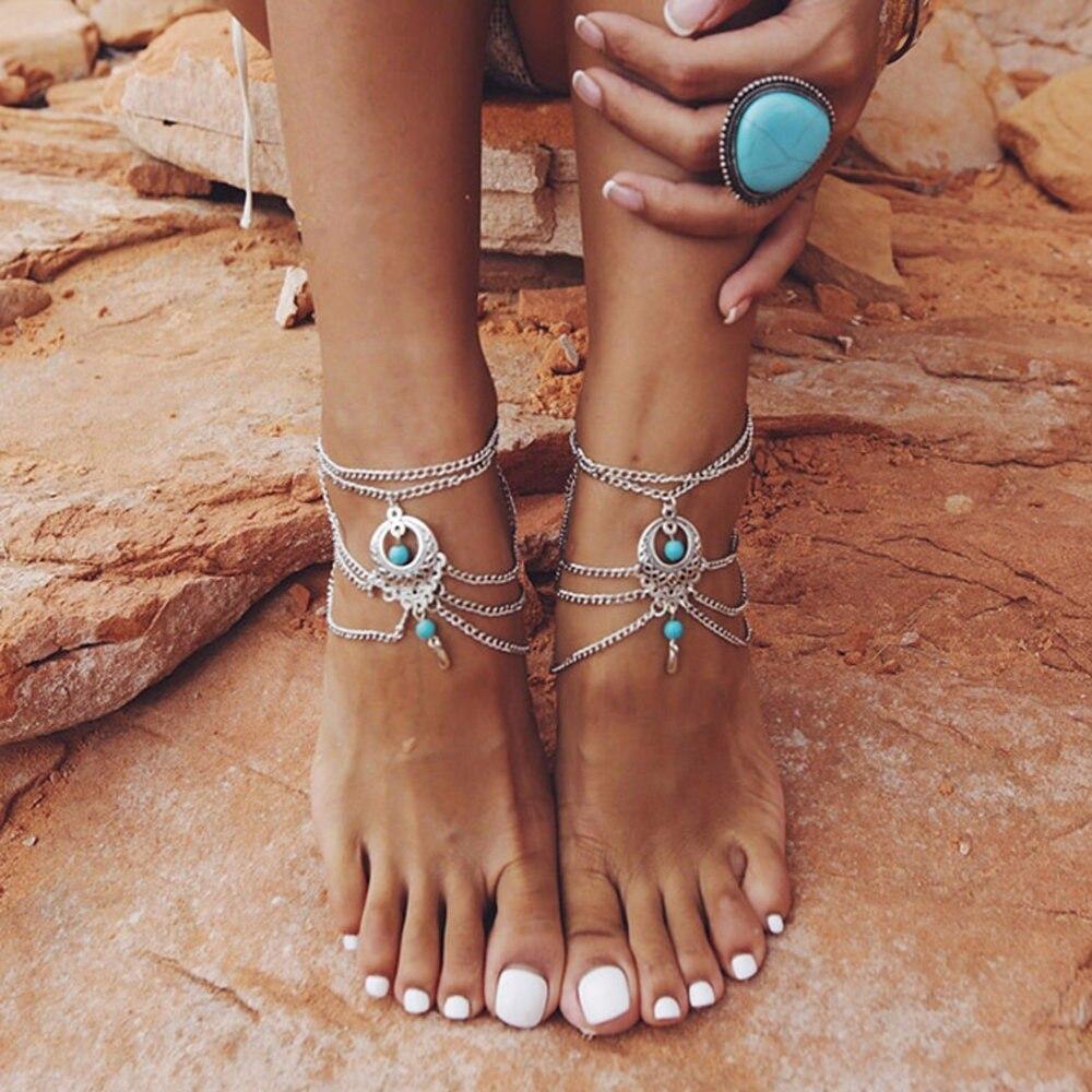 Tobilleras de mujer pulseras de tobillo de Color plateado hueco flor azul cuentas sandalias descalzas joyería de pie multicapas borla Cadena de pierna