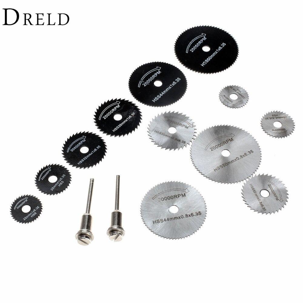 DRELD 14 Uds dremel accesorios HSS Mini sierra Circular cuchillas disco de corte de madera juego de muela para herramientas de carpintería rotativa