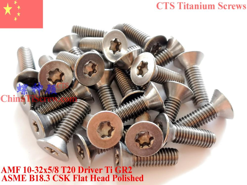 مسامير التيتانيوم ، 10-32x5/8 Torx T20 ، رأس مسطح CSK ، Ti GR2 مصقول ، 50 قطعة