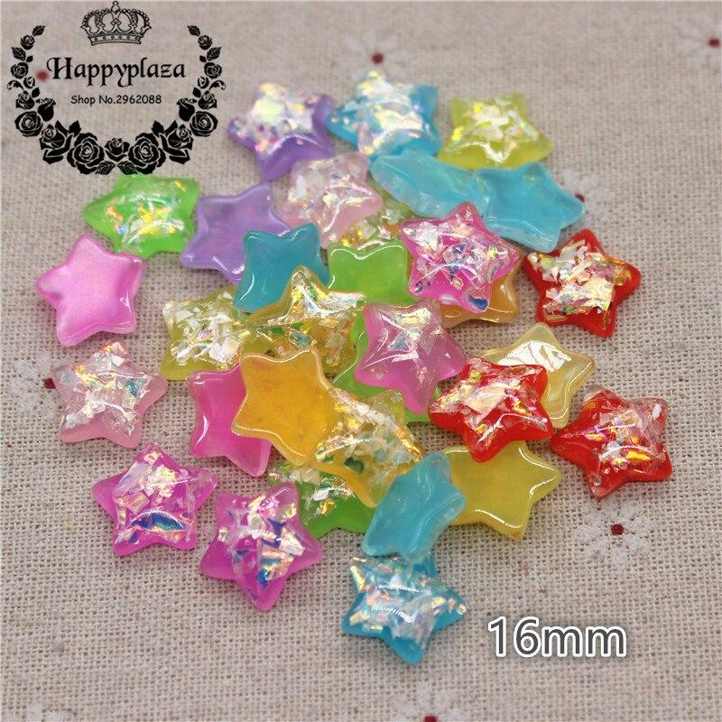 30pcs 16mm Mix Colors Cute Glitter Resin Star Flat back Art Decoration Charm Craft DIY Accessories