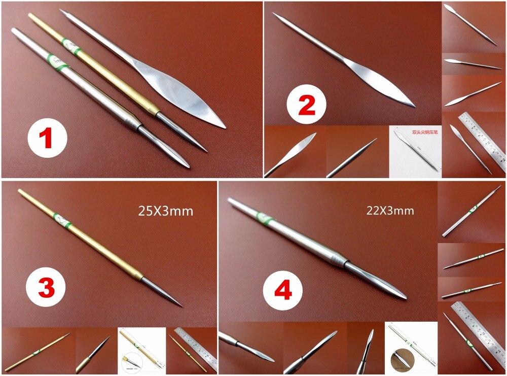 Abrillantador con punta de carburo de tungsteno, herramienta de grabado, abrillantado, estampado, dobladillo, 4 tipos, dorado, plateada de cuero