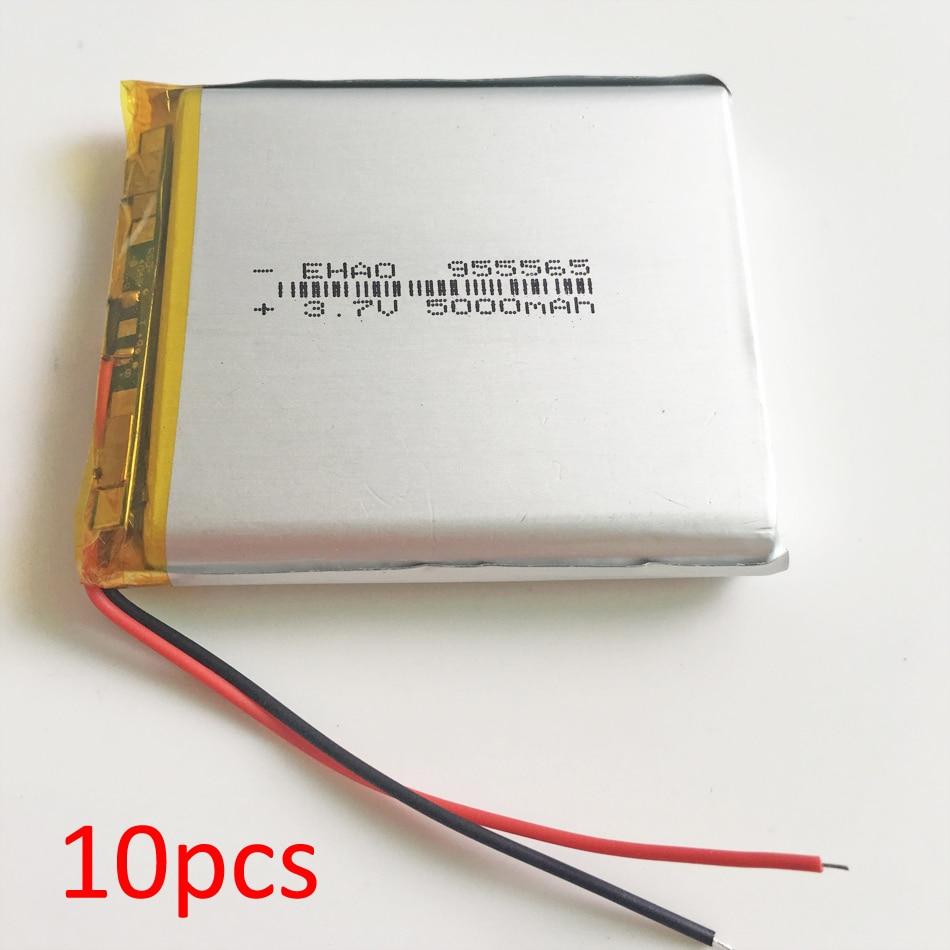 10 piezas 955565 de 3,7 V 5000 mAh polímero de litio LiPo batería recargable para DVD PAD e-book tablet pc portátil banco video juego