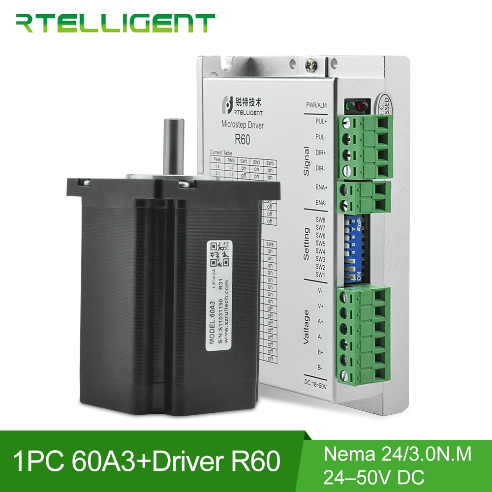 Rtelligent 60x60mm Nema 24 Step Stepper Motor 3N.M 5A with 24-50V DC 5.6A Nema 23 24 Stepper Motor Driver Controller CNC Kit