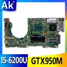 AK K501UX Laptop motherboard para ASUS K501UX K501UB K501U K501 Teste mainboard original DDR3 4g RAM I5-6200U GTX950M EDP