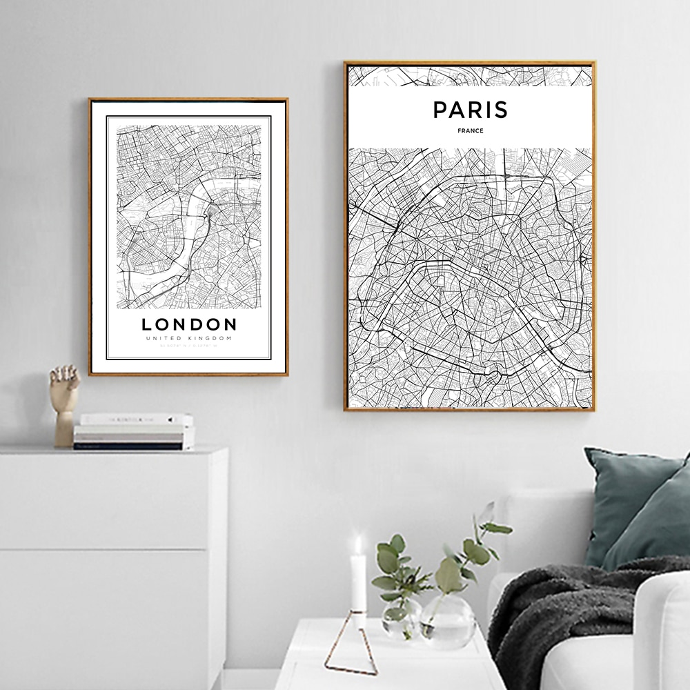 Póster MUTU negro blanco personalizado Mapa de ciudades del mundo París Londres Pared de salón nórdico imágenes artísticas decoración del hogar pinturas en lienzo