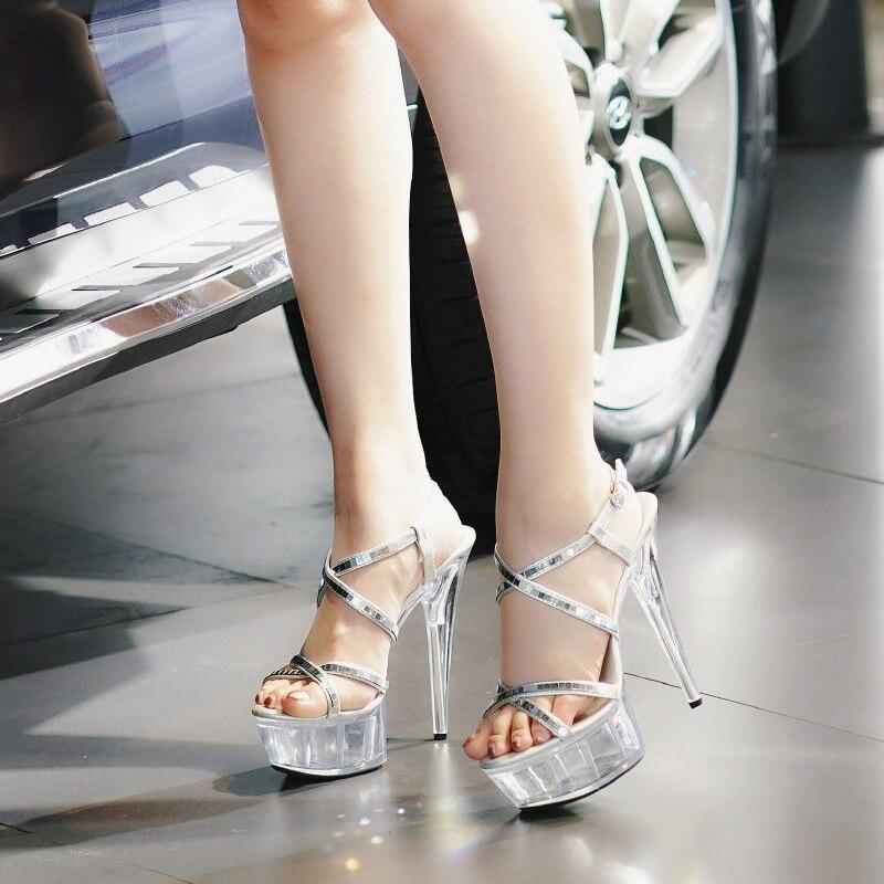 Sandalias transparentes para mujer, zapatos de gladiador de tacón alto de 15 CM, zapatos sexis de plataforma para mujer, Sandalias de tacón de aguja de verano, zapatos de tacón de baile