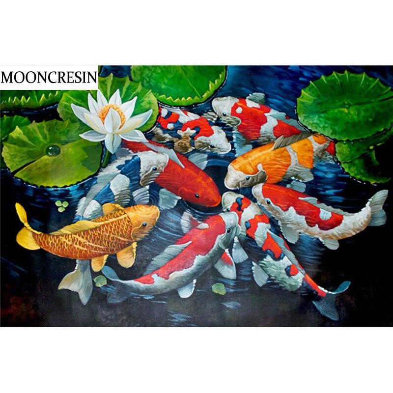 Mosaico para pintar completo cuentas cuadradas de diamantes 5D MOONCRESIN, bordado de diamantes de animales Diy, bordado de peces, bordado de punto de cruz, decoración del hogar