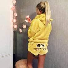 Traje de dos piezas de terciopelo Coral para mujer, pijamas de Otoño Invierno, ropa de dormir cálida, bonitos pantalones cortos de sudaderas con capucha y diseño de gato con letras Meow, conjunto 2018 nuevo