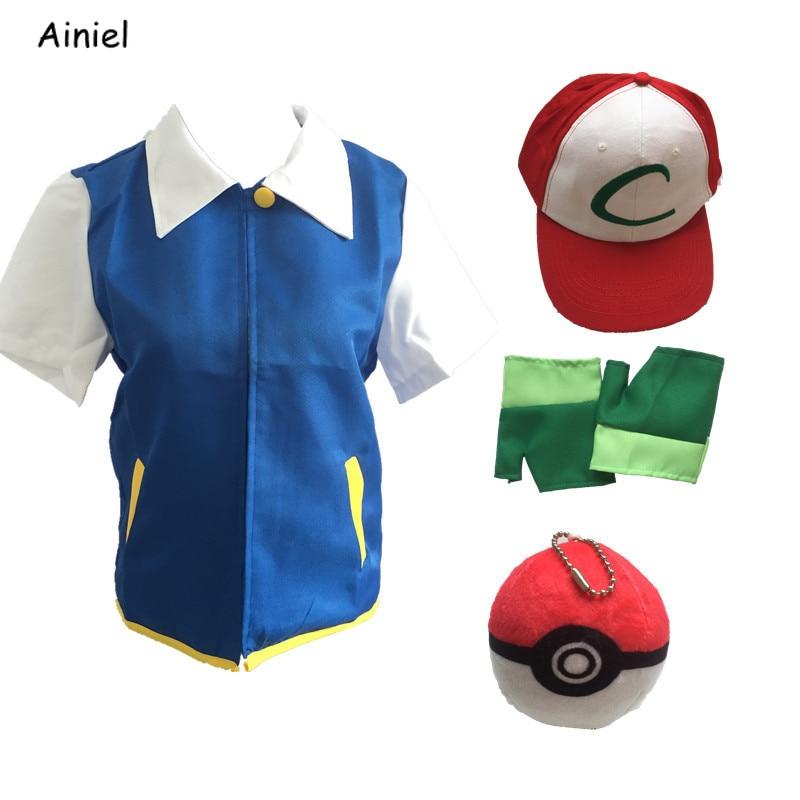 Anime Pokemon Ash Ketchum Cosplay disfraces Pocket Monster Cosplay chaqueta azul guantes sombrero de alta calidad Ash Ketchum Ball niños hombres
