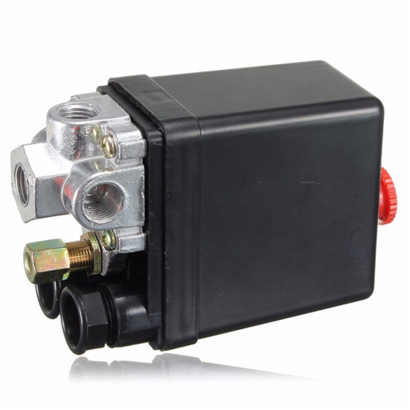 90-120 PSI Air Compressor Parts Pneumatic Switch Valve Air Pump Automatic Switch Pressure Controller 12 Bar 20A 220V 4 Port