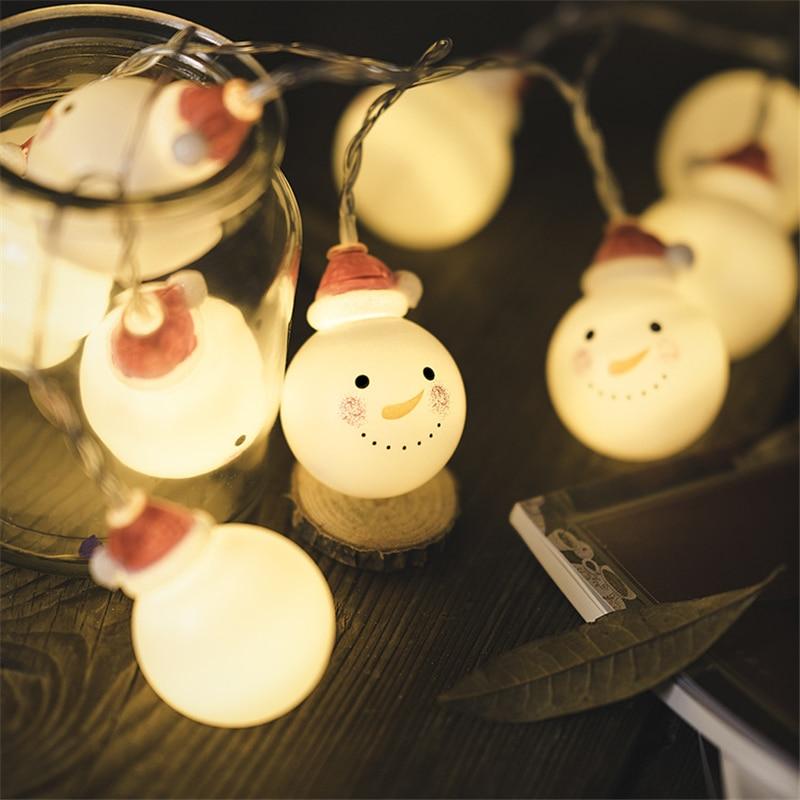 Cadena de luces Led de muñeco de nieve 1m 10 adornos navideños para el hogar decoración navideña de Año Nuevo decoración de Navidad decoración de fiesta. Q
