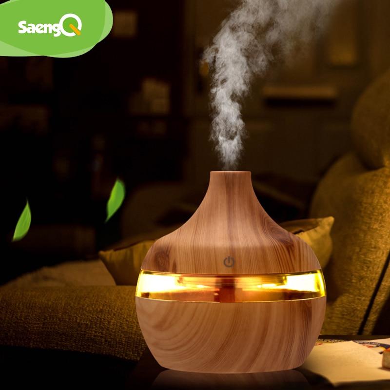 SaengQ-مرطب كهربائي يعطي رائحة عطر فواحة مع مصباح LED, جهاز خشبي يعطي عطور بالموجات فوق الصوتية مع توصيل يو إس بي