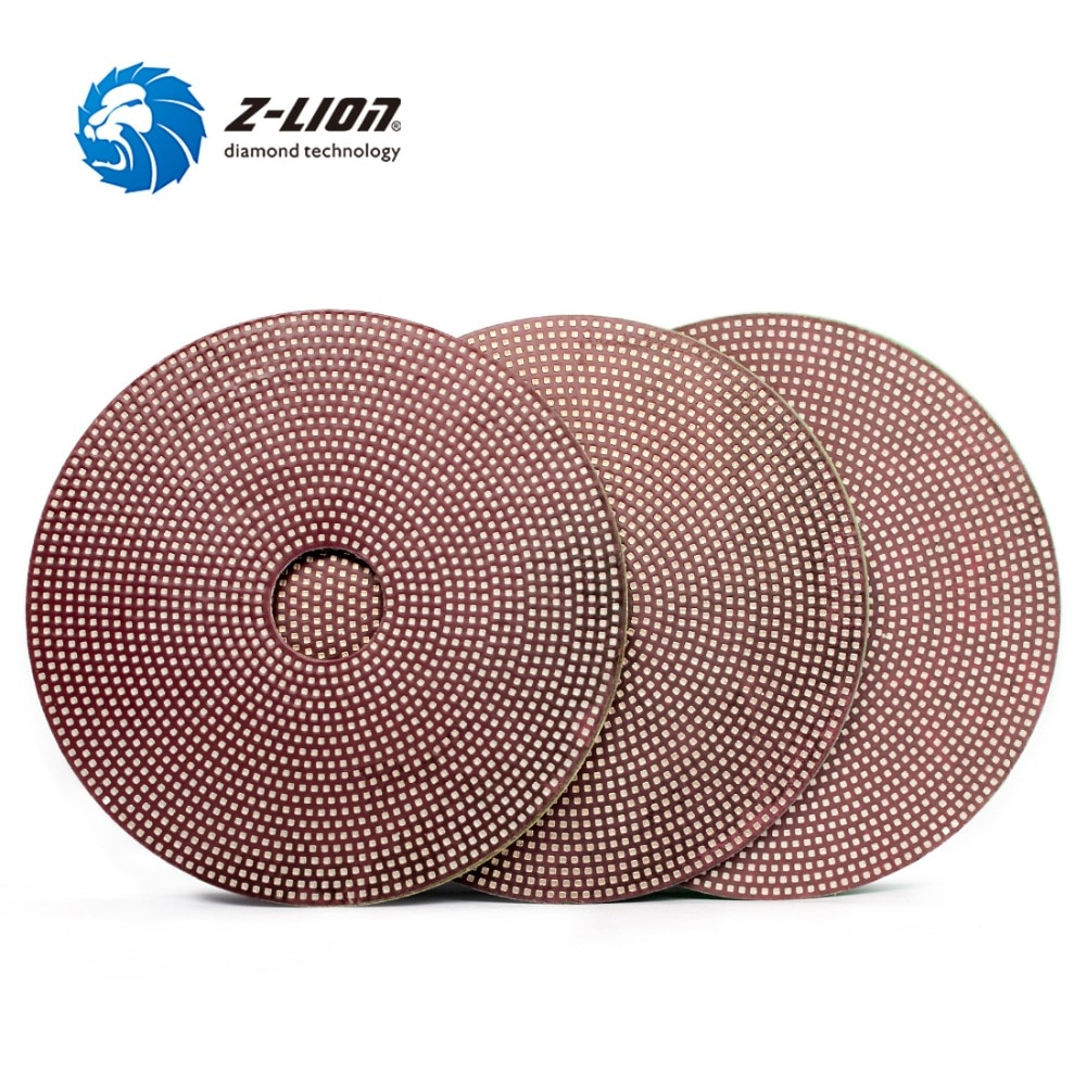 Z-LION 3pcs Diamond Electroplated Polishing Pads 4inch grit 800/1500/3000 Flexible Diamond Sanding Disc for Glass Tile Stone