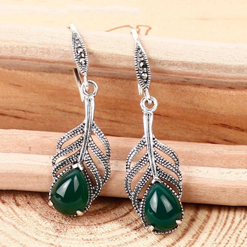 FNJ веерные серьги в форме пальмового листа, натуральный черный зеленый желтый камень, белый опал, серебро 925 пробы, женские серьги из стерлин...