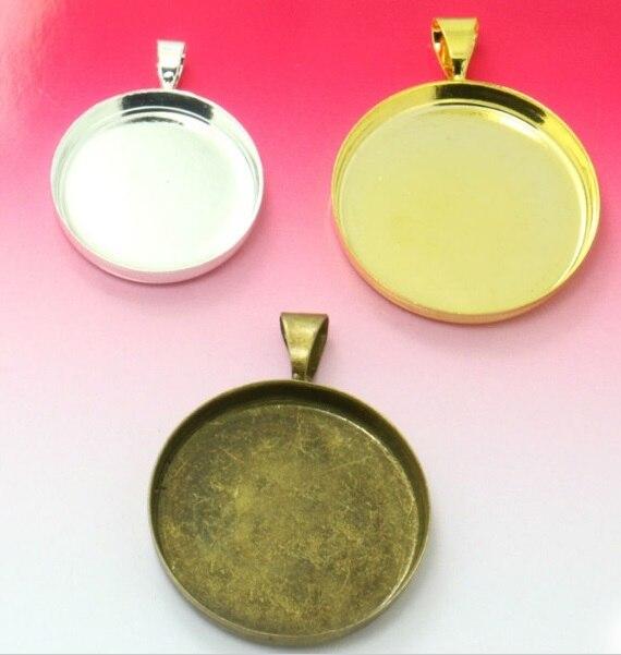 100 قطعة مع قلادة داخلية مطلية بالفضة/الذهب/البرونز العتيق ، 25 مللي متر ، قلادة ، مجوهرات ، دائرية ، إطار عالي ، بالجملة