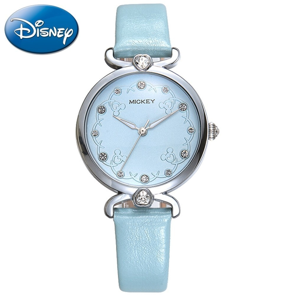 Fashion Girl Crystal Leather Strap Quartz Watches Women's Waterproof Luxury Quality Simple Beautiful Flower Clock Lady Time Hour