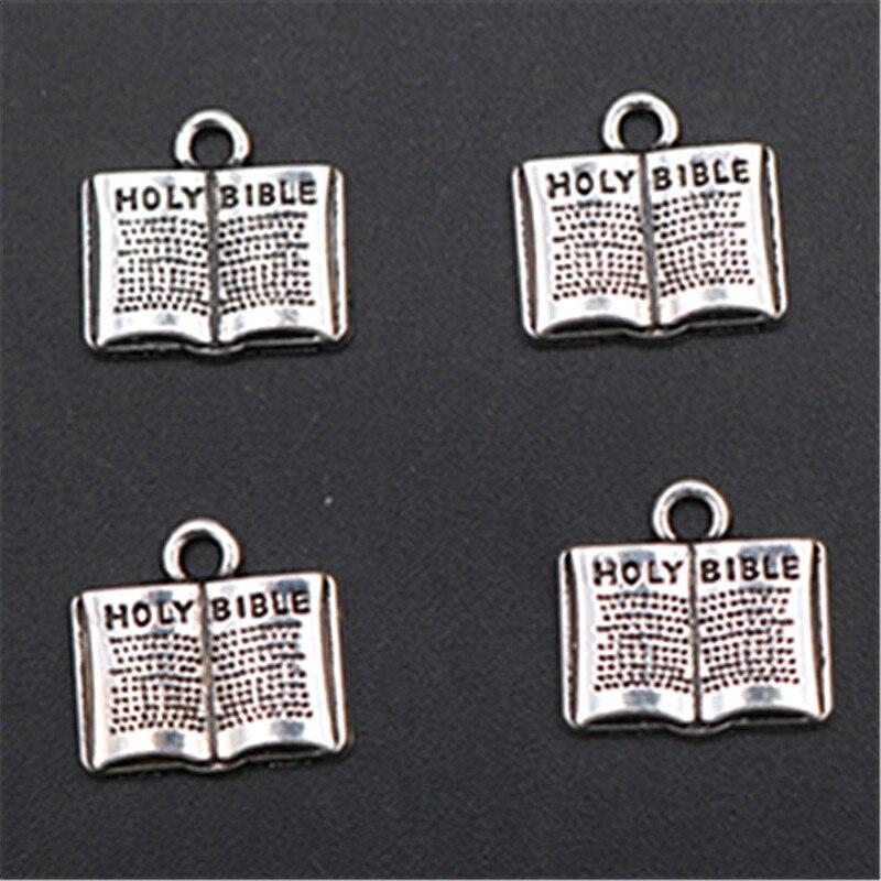 WKOUD, 6 uds., colgante plateado con la Biblia Jesús, collar religioso, pulsera DIY, joyería de Metal, colgante A1614