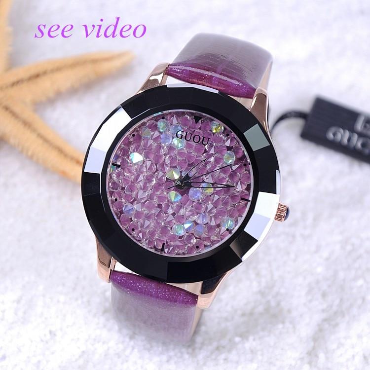 GUOU Nova Chegada Hong Kong Marca Relojes Mulheres Rhinestone Relógios de Cerâmica de Cristal Pulseira de Couro As Mulheres Se Vestem Relógios relojes Quentes