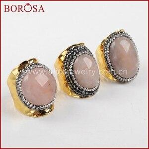BOROSA New Druzy Quartz Gold Band Ring Crystal Rhinestone Pave Pink Quartz Stone Cuff Ring Drusy Jewelry Party Women Ring JAB678