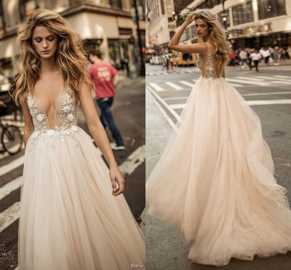 Custom Vestido De Noiva 2020 Champagne Wedding Dresses  Sexy Backless V-neck Bead Wedding Gowns Bridal Dress robe de mariage