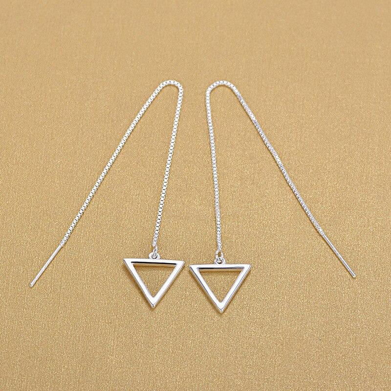 Elegant Simple Hollow Triangle Earrings Sterling Silver 925 Tassel Ear Line Jewelry 2018