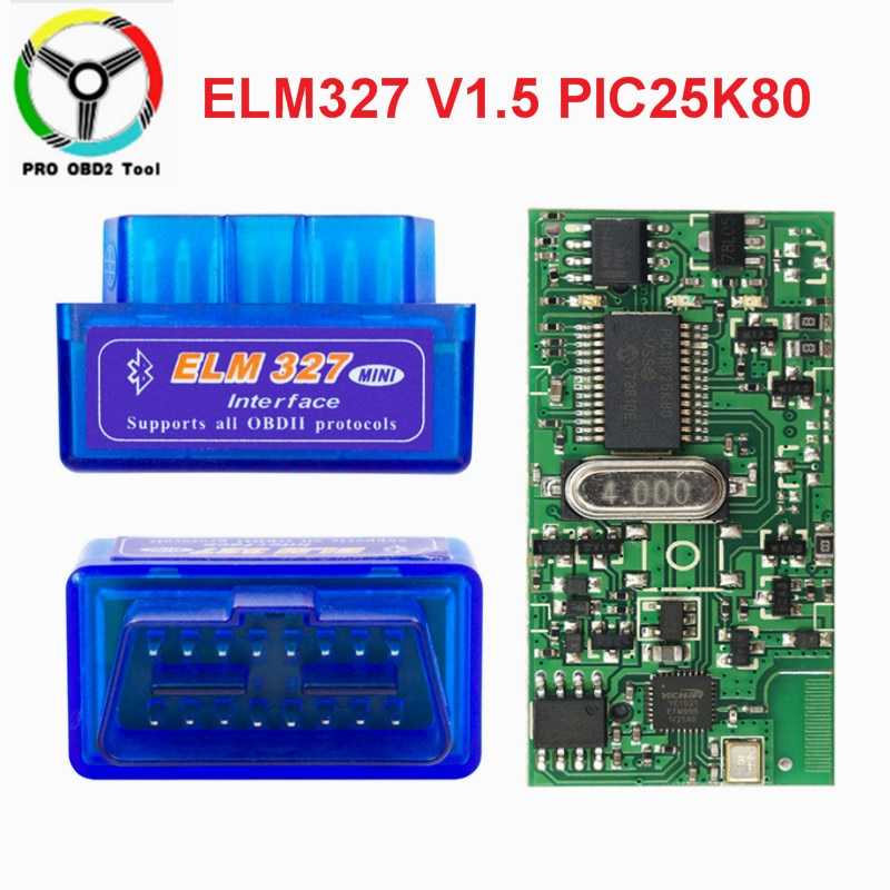 Super Mini ELM327 V1.5 Bluetooth PIC18F25K80 ELM 327 V 1 5 OBD2 herramienta de diagnóstico compatible con J1850 protocolos accesorios de coche