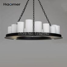 Magnifique lustre circulaire LED D90 cm, forme chandelier. 20 E27, 4. Lampe en fer, abat-jour en verre, style rétro. Haomer