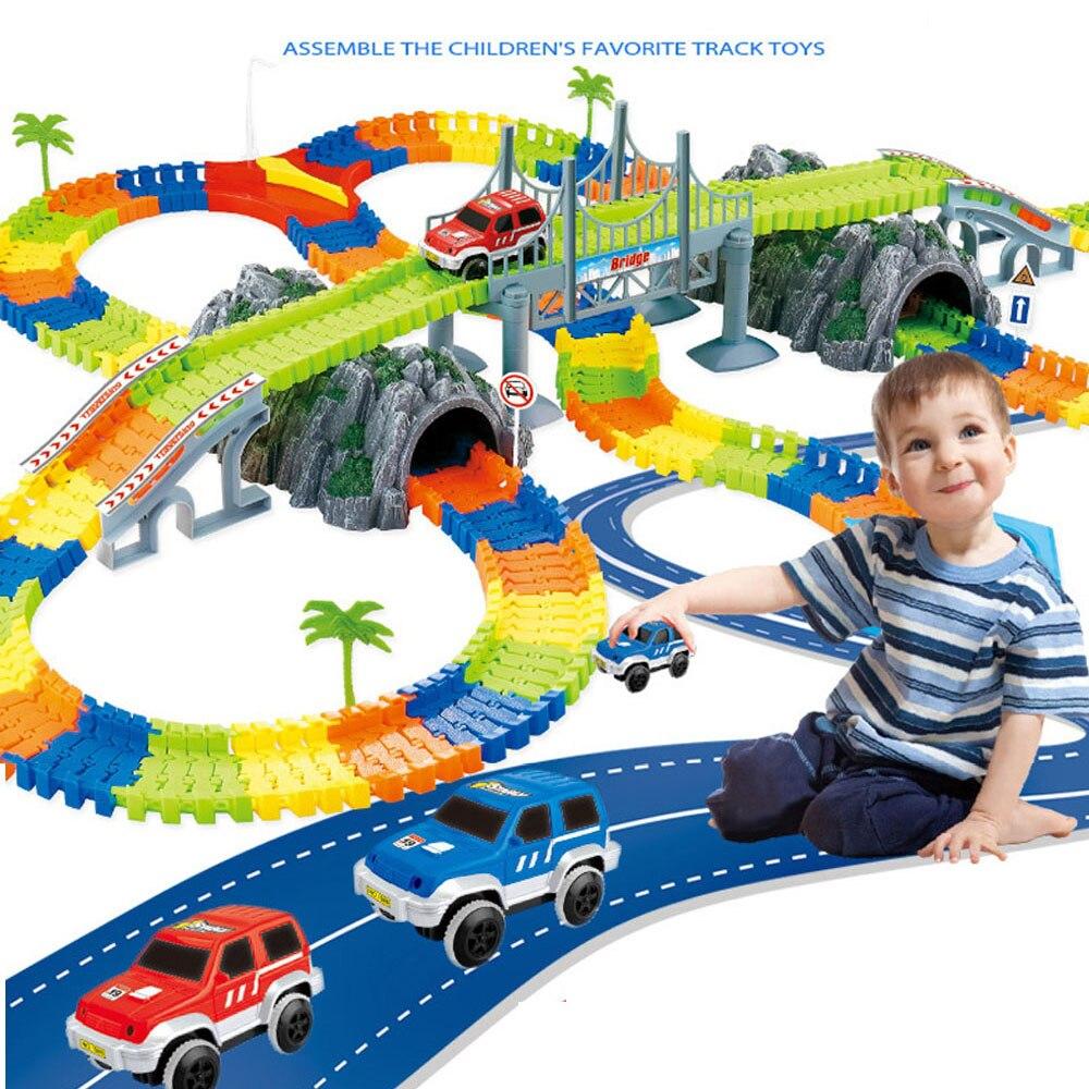 Conjunto de pista de corrida mágica diy luminoso brilhante flexível ferroviário pista carros acessórios brinquedos educativos para crianças meninos presentes