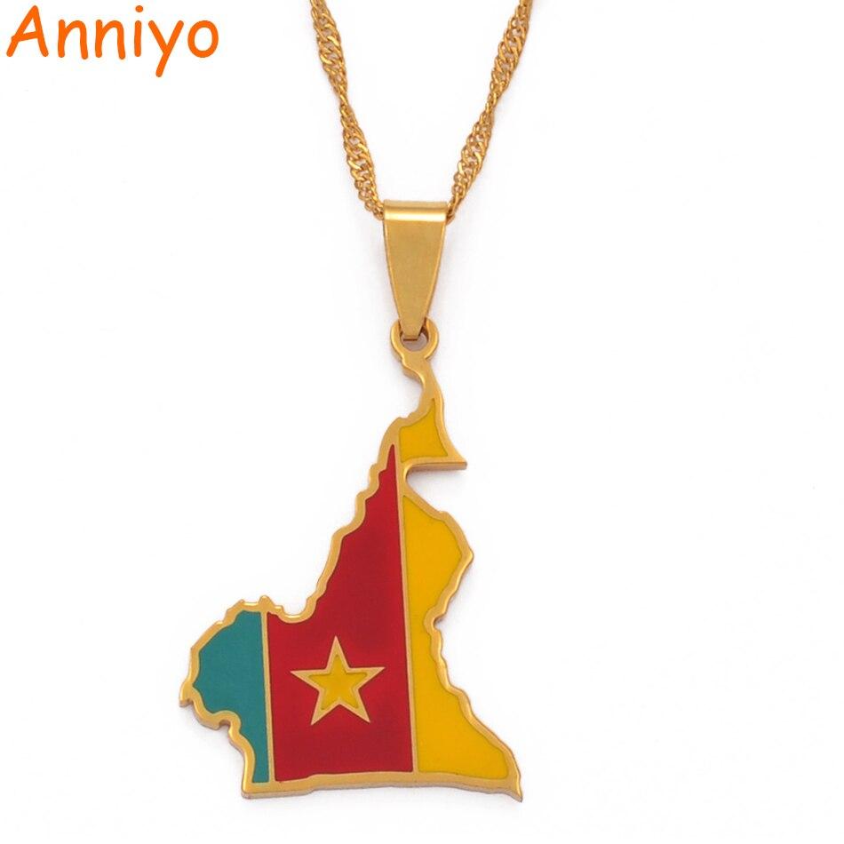Ожерелье с подвеской Anniyo, из нержавеющей стали, с изображением флага, карты стран, подарки #098921