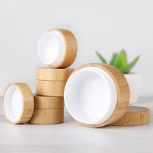 Frasco rellenable de bambú Natural de 5 ml, 10 ml, 30 ml, caja para cosméticos, tarro para almacenamiento de crema de maquillaje, recipiente redondo, botella portátil PJ264