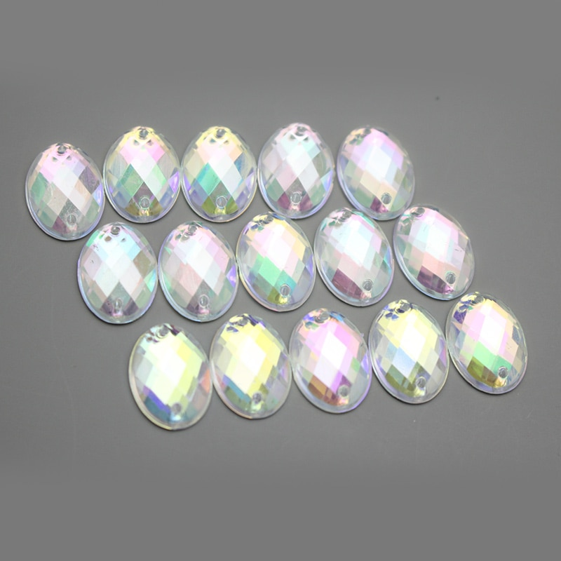 50 unids/lote 10x14mm cristal acrílico pedrería suelta Oval con agujeros cosido en la parte posterior plana vestido de la ropa DIY artesanía accesorios LX350
