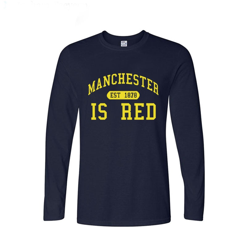 Autumn Fashion Style United Kingdom Red Letter Printed Cotton Long Sleeves T Shirts Men Manchester Tops Tees
