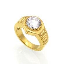 Moda mujer redondo cristal Color oro Acero inoxidable forma de reloj circonio claro rojo blanco púrpura amarillo anillo de piedra joyas