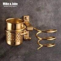 Golden haie     support en aluminium pour seche-cheveux  avec tasse  accessoires de salle de bain  pour la maison  MJ595