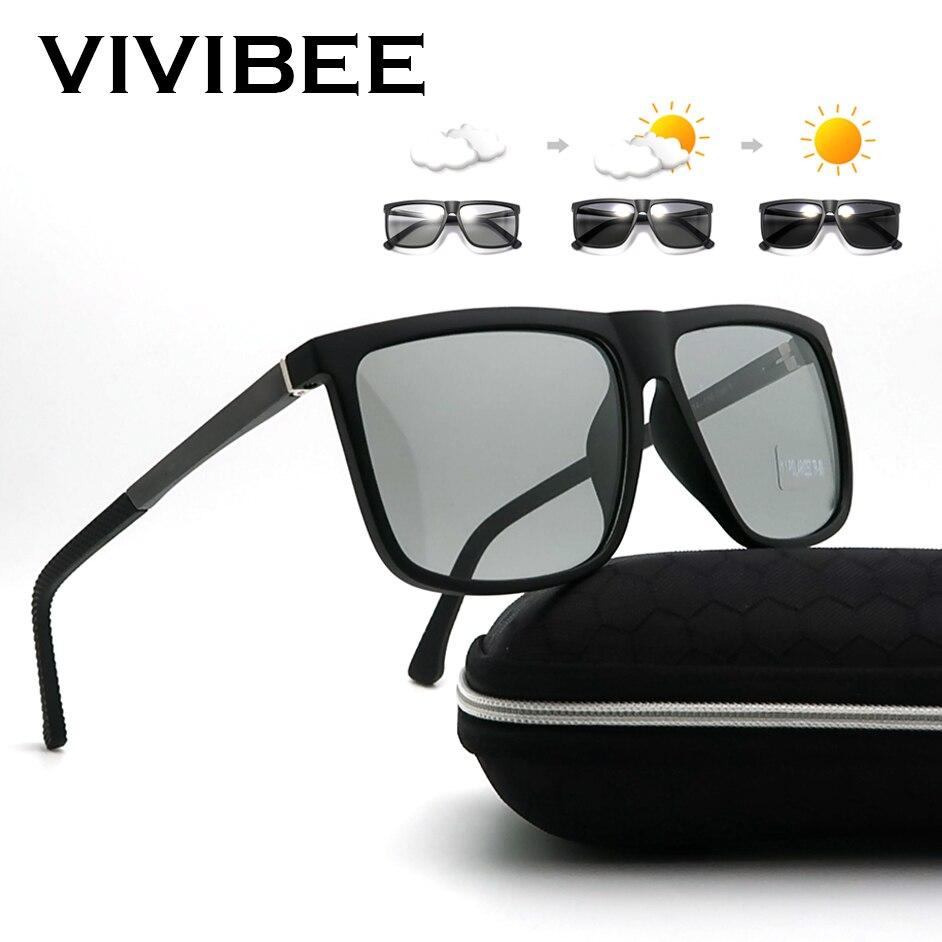 VIVIBEE Oversized Photochromic Polarized Aluminium Magnesium Sunglasses Men Square 2020 Women Polari