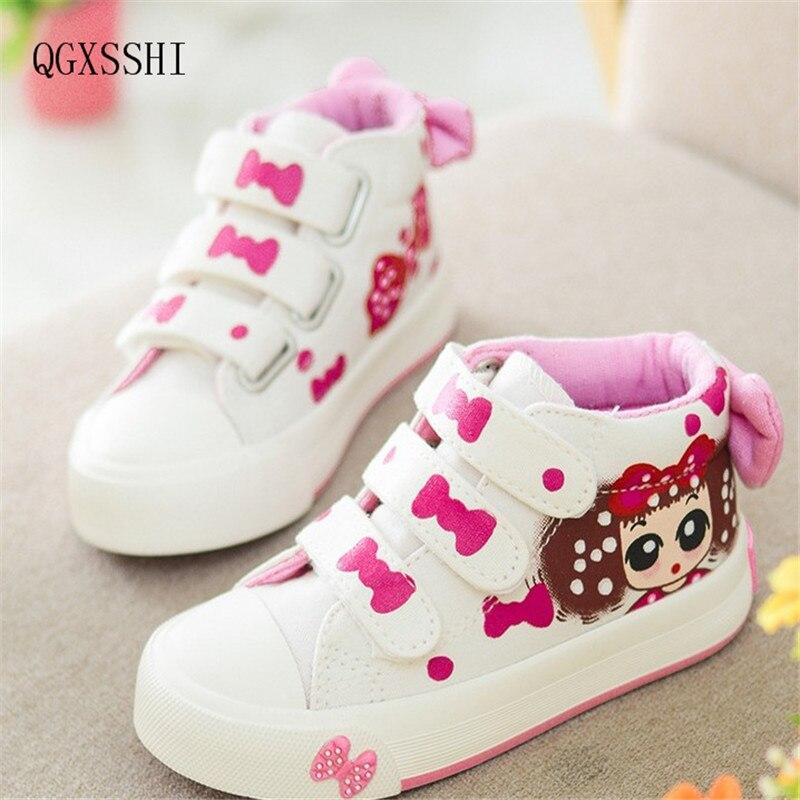 QGXSSHI Princess Girls Shoes For Kids 2016 New Children Shoes Fashion Casual Denim Single Canvas Sne