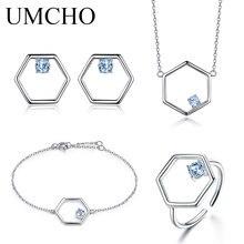 UMCHO ensemble de bijoux en topaze bleue naturelle 925 en argent Sterling collier bague boucles doreilles Bracelet pour femmes cadeau de mariage bijoux