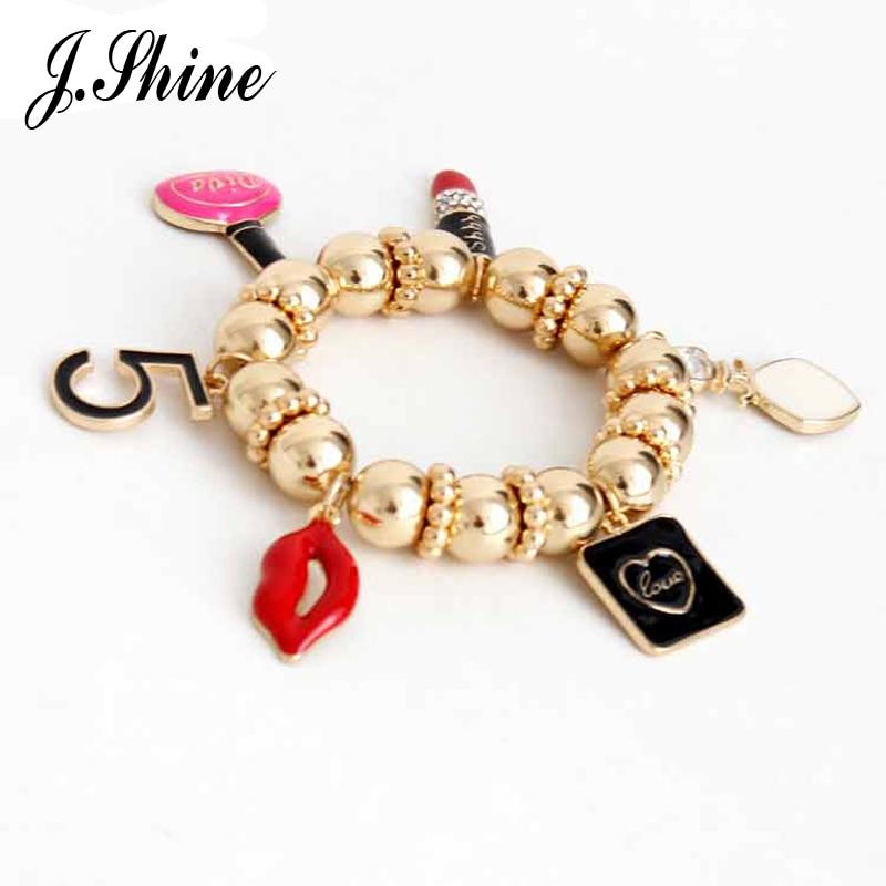 JShine Big Brand Design Lip Strand Beads Handmade Strand Bracelets & Bangles for Women Gold Color Pendant Adjustable Jewelry cc