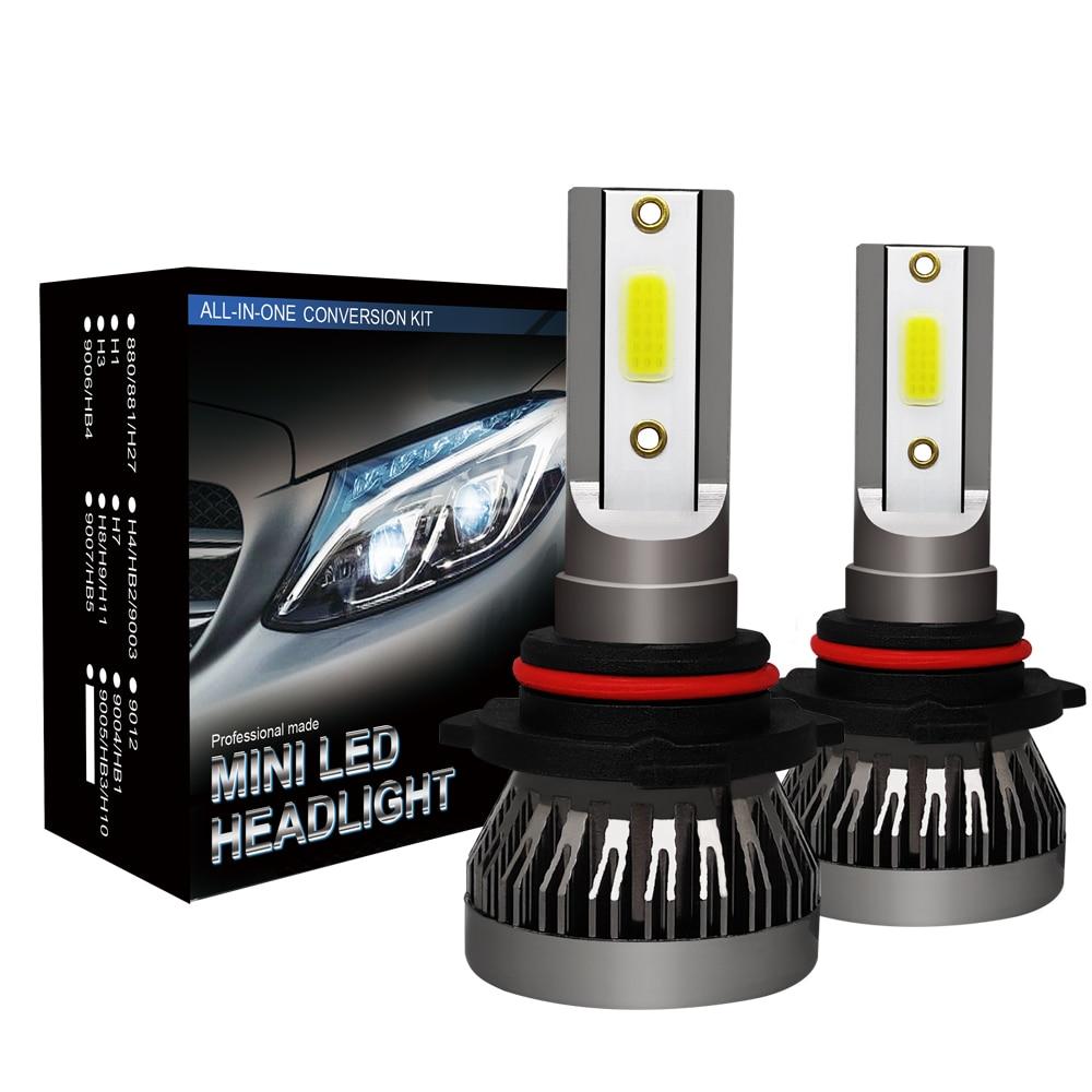 2 uds Mini Auto bombillas LED H7 H4 H11 H1 H8 H9 9005 HB3 9006 HB4 9012 lámpara LED de los faros de coche luces de niebla 72W 8000LM 12V 24V