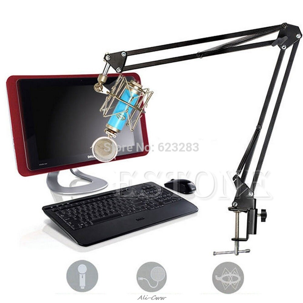 1Pc Mic Microphone Stand Suspension Boom Scissor Arm Holder For Studio Broadcast PN