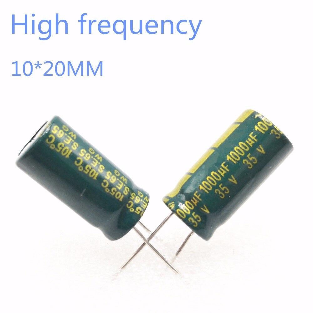 60 ~ 200pcs 35V 1000UF 1000UF 35V 10*20 di alimentazione speciale di alta-frequenza di cristallo Condensatore Elettrolitico 35V1000uf 20%