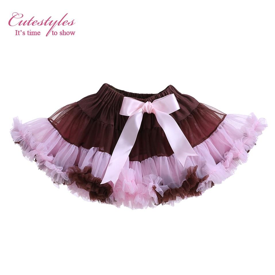 Cutestyle Moda Fluffy Meninas Saia TUTU Partido Popular Crianças Saias Com Arco Rosa E Marrom Roupas Preço Barato TS10715-13