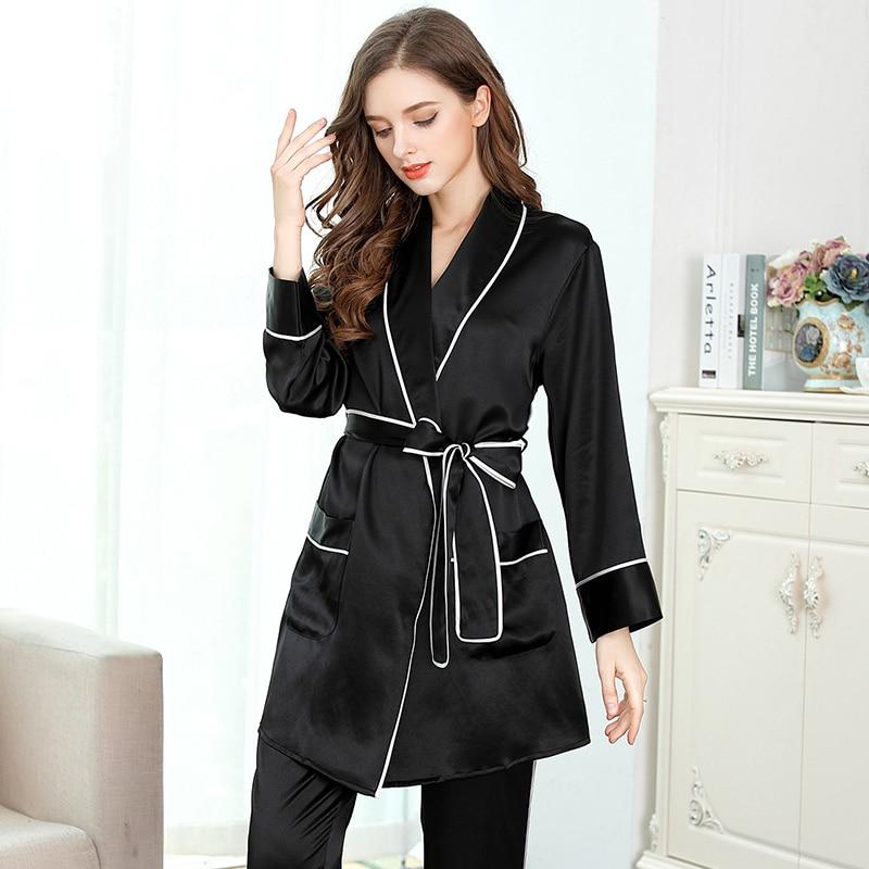 women's silk  pajama sets 2019  woman black long sleeve full length Two Piece Set women's sleep&lounge silk nightwear sleepwears