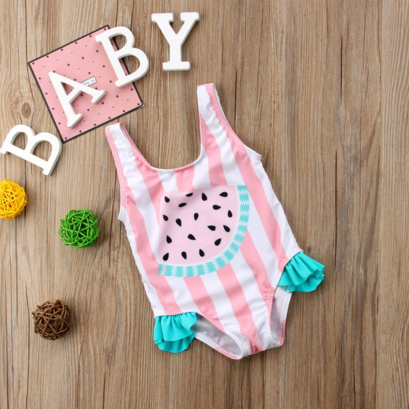 2019 New Summer Toddler Kids Baby Girl Stripe Swimsuit Swimwear Cute Watermelon Ruffles Swimming Bikini Bathing Suit Monokini