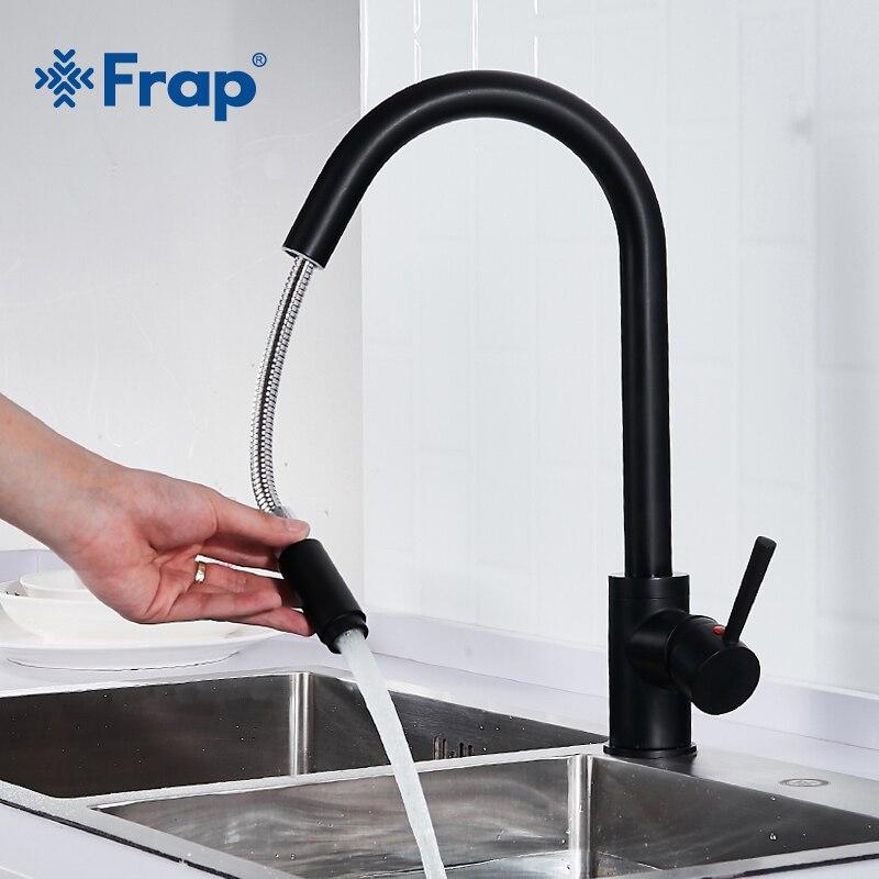 Frap Heiße Und Kalte Wasser Küche Wasserhahn Schwarz Öl Pinsel Waschbecken Mischbatterie 360 Grad Rotation Pull Out Mixer Küche wasserhähne Y40070-1