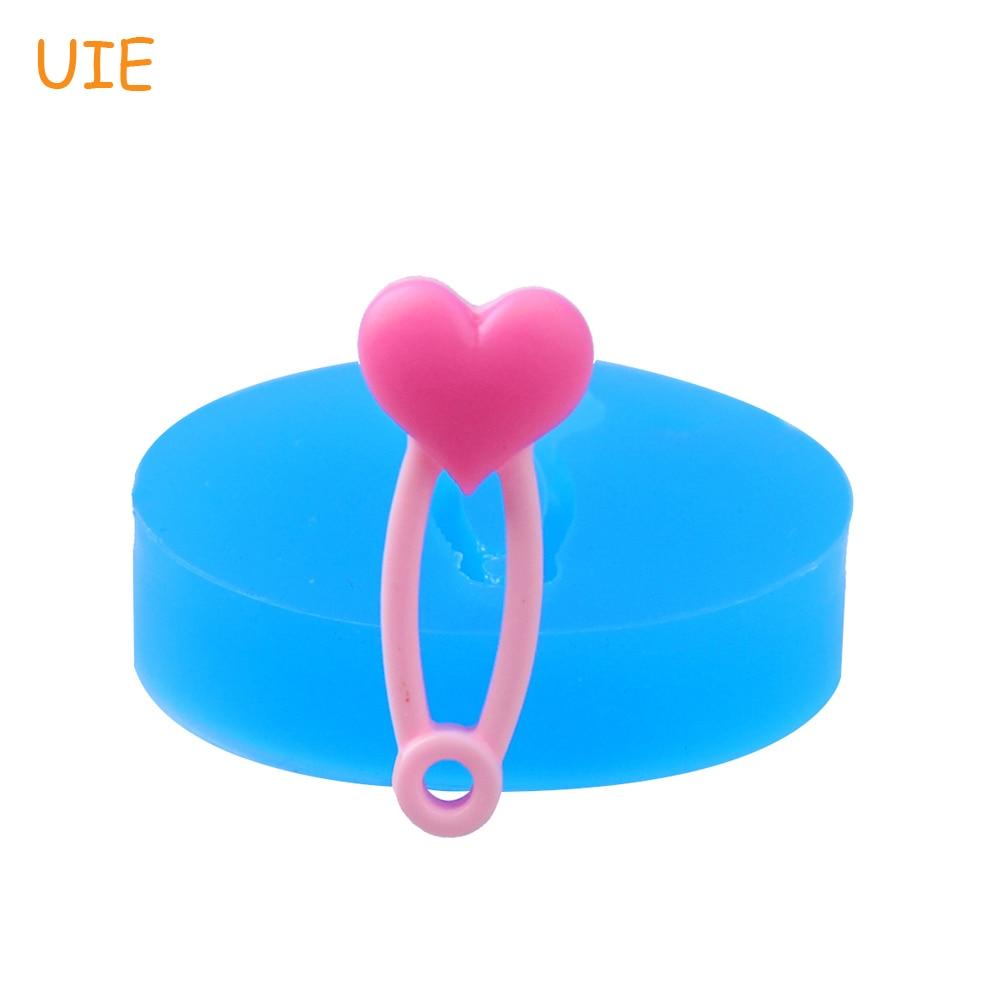 FYL503U 28,8mm corazón pañal de seguridad Pin molde de silicona-para Baby Shower, Sugarcraft, Fondant, caramelo, resina, glaseado, molde de pasta de goma