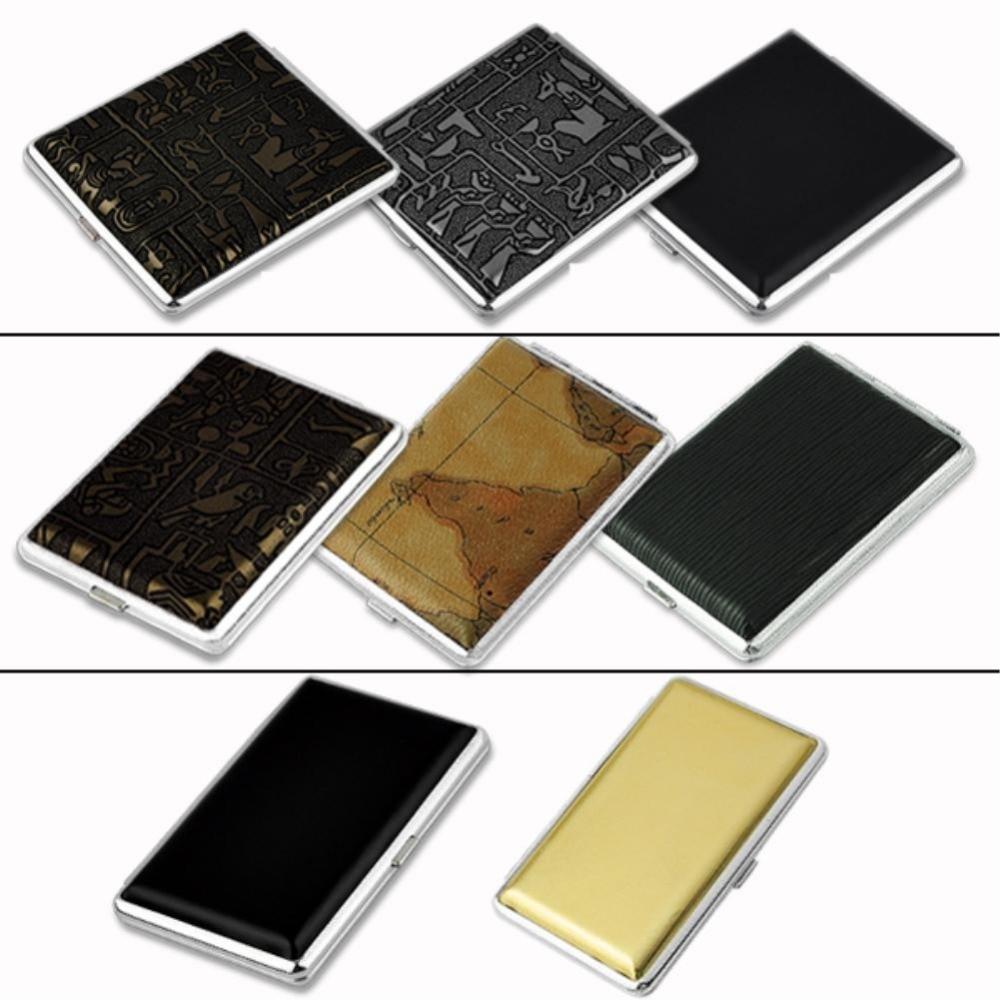 8 estilos de cuero negro y caja de cigarrillos de Metal estuche protector de tabaco contenedor de almacenamiento