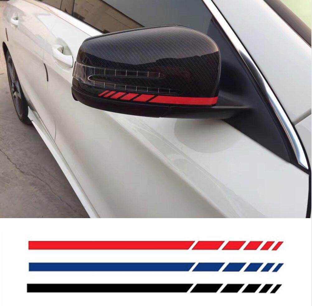 Pegatina de coche HotMeiNi, 2sets4pcs, pegatina de espejo lateral retrovisor, raya de vinilo, accesorios para el cuerpo del vehículo del camión, negro/plateado, 20*0,7 cm